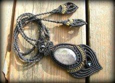 画像4: 浄化の石トルマリンインクォーツのマクラメ編みネックレス*水晶*トルマリンクォーツ (4)