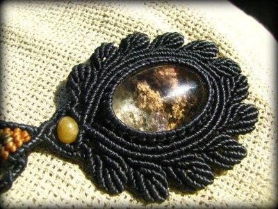 画像3: 日本より発送♪ガーデンクォーツ&琥珀のマクラメ編みネックレス*庭園水晶*ボヘミアン*ヒッピー