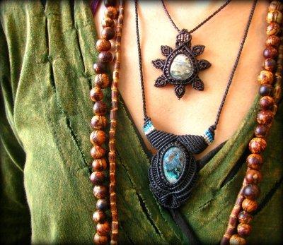 画像1: オーシャンジャスパー(マダガスカル産)マクラメ編みネックレス*天然石*パワーストーン