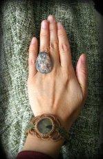 画像1: Made in Canada【Harfang des neiges】カナダの石のリング/指輪*19号 (1)