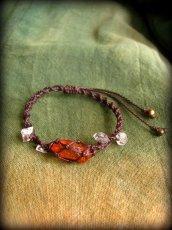 画像13: ハーキマーダイアモンド&バルト海産アンバー原石/琥珀のハンドメイド手編みブレスレット*マクラメ (13)
