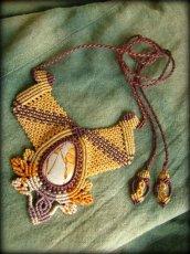 画像8: 1点もの★聖なる石★オーストラリア産ピクチャージャスパーのハンドメイド手編みネックレス/チョーカー*パワーストーン天然石*マクラメ (8)