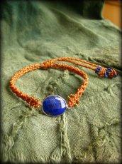 画像6: アフガン産ラピスラズリのハンドメイド手編みブレスレット*シルバー925**マクラメ (6)