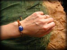 画像7: アフガン産ラピスラズリのハンドメイド手編みブレスレット*シルバー925**マクラメ (7)