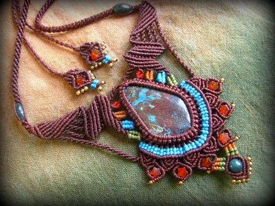 画像2: 母なる大地の石クリソコラのハンドメイド手編みネックレス/クリソコーラ*マクラメ*パワーストーン