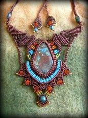 画像1: 母なる大地の石クリソコラのハンドメイド手編みネックレス/クリソコーラ*マクラメ*パワーストーン (1)