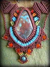 画像2: 母なる大地の石クリソコラのハンドメイド手編みネックレス/クリソコーラ*マクラメ*パワーストーン (2)
