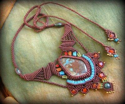 画像3: 母なる大地の石クリソコラのハンドメイド手編みネックレス/クリソコーラ*マクラメ*パワーストーン