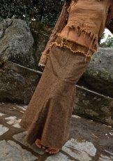 画像1: 身体に優しいあったか手織りウールのアステカ文様刺繍ハンドメイド スカート (1)