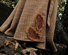 画像5: Sサイズ再入荷!! 手織りウールのネイティブフェザー刺繍ロング巻きスカート*ハンドメイド*カディコットン (5)