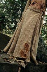 画像3: Sサイズ再入荷!! 手織りウールのネイティブフェザー刺繍ロング巻きスカート*ハンドメイド*カディコットン (3)