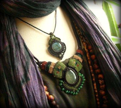 画像2: 癒しの天然石プレナイトのハンドメイド手編みネックレス/チョーカー*天然石*パワーストーン*マクラメ