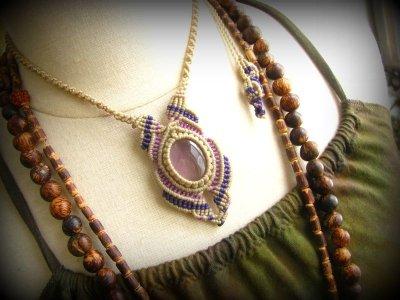 画像1: 1点もの アメジスト ネックレス*紫水晶 アメシスト*マクラメ ハンドメイド天然石アクセサリー