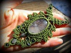 画像12: ネガティブな波動を除去するトルマリンインクォーツのマクラメ編みネックレス*水晶*ボヘミアン*ヒッピー (12)