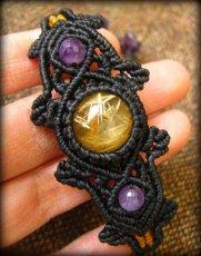 画像1: 大粒ルチルクォーツ&アメジストのマクラメ編みブレスレット*ハンドメイド*パワーストーン天然石 (1)