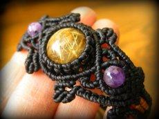 画像3: 大粒ルチルクォーツ&アメジストのマクラメ編みブレスレット*ハンドメイド*パワーストーン天然石 (3)
