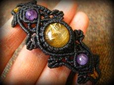 画像10: 大粒ルチルクォーツ&アメジストのマクラメ編みブレスレット*ハンドメイド*パワーストーン天然石 (10)