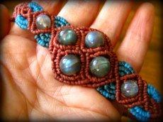 画像4: 会員様限定15%OFF♪上質ラブラドライトのマクラメ編みブレスレット/バングル*パワーストーン天然石 (4)
