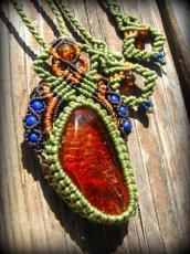 画像3: BIGサイズ♪1点物バルト海産アンバー琥珀&ラピスラズリのマクラメ編みネックレス*原石*パワーストーン*天然石 (3)