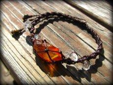 画像3: ハーキマーダイアモンド&バルト海産アンバー原石/琥珀のハンドメイド手編みブレスレット*マクラメ (3)
