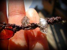 画像6: ハーキマーダイアモンド&バルト海産アンバー原石/琥珀のハンドメイド手編みブレスレット*マクラメ (6)