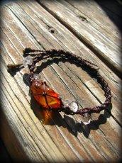 画像1: ハーキマーダイアモンド&バルト海産アンバー原石/琥珀のハンドメイド手編みブレスレット*マクラメ (1)