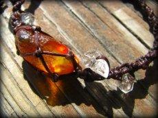 画像4: ハーキマーダイアモンド&バルト海産アンバー原石/琥珀のハンドメイド手編みブレスレット*マクラメ (4)