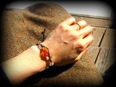画像8: ハーキマーダイアモンド&バルト海産アンバー原石/琥珀のハンドメイド手編みブレスレット*マクラメ (8)