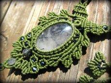 画像7: ネガティブな波動を除去するトルマリンインクォーツのマクラメ編みネックレス*水晶*ボヘミアン*ヒッピー (7)
