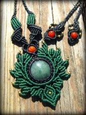 画像1: ミャンマー産ジェイド翡翠&カーネリアンのマクラメ編みデザインネックレス*天然石パワーストーン (1)