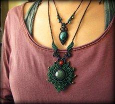 画像7: ミャンマー産ジェイド翡翠&カーネリアンのマクラメ編みデザインネックレス*天然石パワーストーン (7)