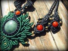 画像8: ミャンマー産ジェイド翡翠&カーネリアンのマクラメ編みデザインネックレス*天然石パワーストーン (8)
