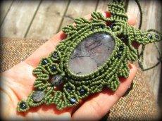 画像3: ネガティブな波動を除去するトルマリンインクォーツのマクラメ編みネックレス*水晶*ボヘミアン*ヒッピー (3)