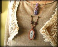 画像18: ソーラークォーツ&ユナカイト&ボツワナ産アゲートのマクラメ編みネックレス*原石*天然石*パワーストーン (18)