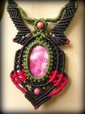画像9: アフリカ産 天然ルビー&ロードナイトのマクラメ編みネックレス*天然石パワーストーン (9)