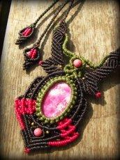 画像11: アフリカ産 天然ルビー&ロードナイトのマクラメ編みネックレス*天然石パワーストーン (11)
