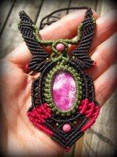 画像1: アフリカ産 天然ルビー&ロードナイトのマクラメ編みネックレス*天然石パワーストーン (1)