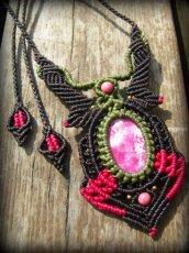 画像10: アフリカ産 天然ルビー&ロードナイトのマクラメ編みネックレス*天然石パワーストーン (10)
