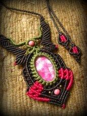画像15: アフリカ産 天然ルビー&ロードナイトのマクラメ編みネックレス*天然石パワーストーン (15)