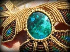 画像7: 青い地球色ペルー産クリソコラのマクラメ編みデザインネックレス/クリソコーラ*パワーストーン (7)