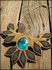 画像1: 青い地球色ペルー産クリソコラのマクラメ編みデザインネックレス/クリソコーラ*パワーストーン (1)
