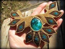画像5: 青い地球色ペルー産クリソコラのマクラメ編みデザインネックレス/クリソコーラ*パワーストーン (5)