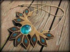 画像8: 青い地球色ペルー産クリソコラのマクラメ編みデザインネックレス/クリソコーラ*パワーストーン (8)