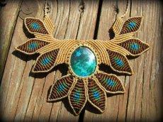 画像2: 青い地球色ペルー産クリソコラのマクラメ編みデザインネックレス/クリソコーラ*パワーストーン (2)