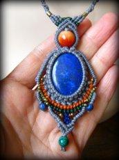 画像12: 上質アフガニスタン産ラピスラズリのマクラメ編みネックレス*ハンドメイド*エスニック*天然石パワーストーン (12)