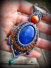 画像11: 上質アフガニスタン産ラピスラズリのマクラメ編みネックレス*ハンドメイド*エスニック*天然石パワーストーン (11)