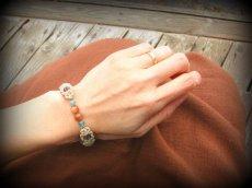 画像13: オレンジムーンストーン&アクアマリンのシンプルマクラメ編みブレスレット*パワーストーン*ハンドメイド (13)