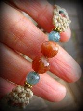画像11: オレンジムーンストーン&アクアマリンのシンプルマクラメ編みブレスレット*パワーストーン*ハンドメイド (11)