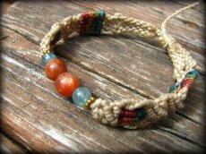 画像6: オレンジムーンストーン&アクアマリンのシンプルマクラメ編みブレスレット*パワーストーン*ハンドメイド (6)