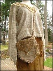 画像7: 残り1点☆ヒップバッグにもなる地球に優しい手紡ぎ・手織りヘンプ&ローシルクのhandmade妖精バッグ/ウエストバック/ピクシーバック (7)